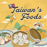 Delicious Taiwan snacks collection. In flat design style vector illustration