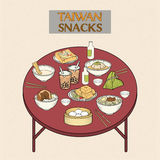 Delicious Taiwan snacks collection. In hand drawn style vector illustration