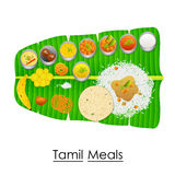 Delicious Tamil Meal on Banana Leaf Royalty Free Stock Image