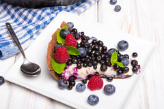 Delicious tart with blueberries and raspberries Stock Image