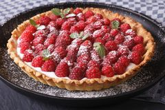Delicious tart with fresh raspberries  on a plate close-up horiz. Delicious tart with fresh raspberries and mint on a plate close-up horizontal Royalty Free Stock Photos