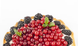 Delicious  tart with fresh red currants, blackberries, raspberries, strawberries and cream. Delicious  tart with fresh red currants, blackberries, raspberries Royalty Free Stock Photo