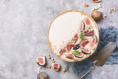 Delicious Tart with fresh figs stock photo