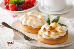 Delicious tart with lemon curd and meringue close-up on a plate. Royalty Free Stock Image