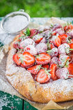 Delicious tart with strawberries in garden Stock Photos