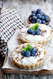 Delicious tarts with cream and fresh blueberry on wooden table stock photos