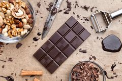 Delicious and tasty chocolate background Stock Images