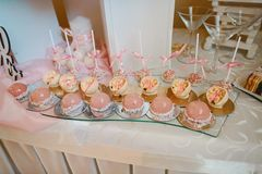 Delicious and tasty dessert table with cupcakes and shots at reception closeup. Catering Concept royalty free stock photo