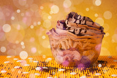 Delicious tasty homemade cakes with bokeh light background Royalty Free Stock Photography