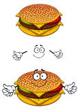 Delicious tasty sesame cheeseburger character Stock Photography