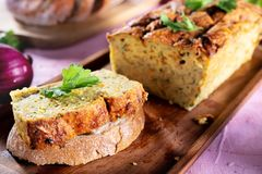 Vegetarian courgette pate on natural background Royalty Free Stock Images