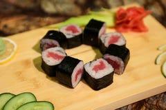 Delicious Tekka maki sushi rolls Stock Photos
