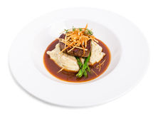 Delicious tenderloin steak with asparagus. Royalty Free Stock Photo