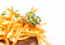 Delicious tenderloin steak with french fries. Stock Image