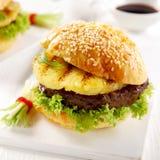 Delicious teriyaki pineapple burger Royalty Free Stock Photos