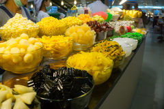 Delicious Thai cuisine in Bangkok, Thailand. Bangkok, Thailand – March 30, 2015. The food buffet in restaurant. Sweet dessert is a Thai traditional food and Stock Photography