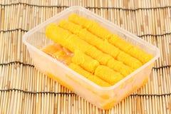 Delicious thai dessert in Plastic box Stock Photos