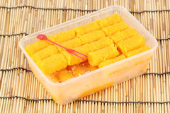 Delicious thai dessert in Plastic box Royalty Free Stock Images