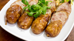 The delicious Thai Fermented Sausages Sai Krok Isan from northeastern Stock Photos