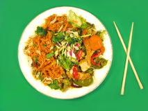 Delicious Thai food. Thai cuisine and chopsticks Royalty Free Stock Photos