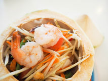 Delicious Thai food and / somtum. Nice decoration somtum in the coconut Stock Photography