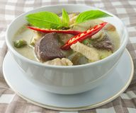 Delicious Thai Green Curry with Chicken and Coconut Milk Royalty Free Stock Photography