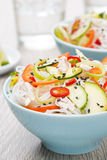 Delicious Thai salad with vegetables, rice noodles and chicken Stock Image