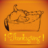 Delicious Thanksgiving Pie in Hand Draw Style, Vector Illustration Royalty Free Stock Images