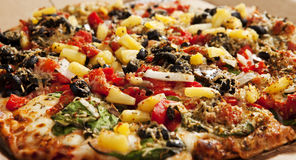 Delicious Thin Crust Vegetarian Pizza. Photo of Delicious Thin Crust Vegetarian Pizza royalty free stock photos