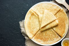 Delicious thin pancakes. Top view stock photography