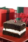 Delicious Three Layer Chocolate Holiday Cake Royalty Free Stock Photography