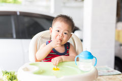 Delicious time of baby. The baby learns to eat by himself. he can use spoon well. so he is very happy (focus at his face Royalty Free Stock Image
