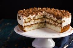Delicious tiramisu cake on cake stand Royalty Free Stock Images