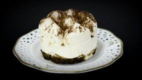 Delicious tiramisu cake on plate stock video footage