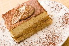 Delicious tiramisu with chocolate Royalty Free Stock Photography