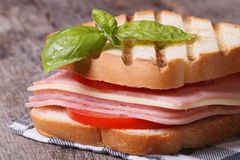 Delicious toast with ham, cheese tomatoes on the table Royalty Free Stock Photos