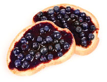 Delicious toast with jam and blueberries Stock Photography