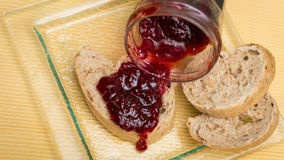 Delicious toast with jam on table close-up. Delicious toast with jam on table close-up royalty free stock photo