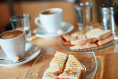 Delicious toasted mozzarella and tomato sandwich Royalty Free Stock Image