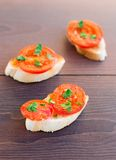 Delicious tomato bruschetta with herbs Stock Photography