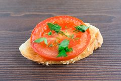 Delicious tomato bruschetta with herbs Royalty Free Stock Image