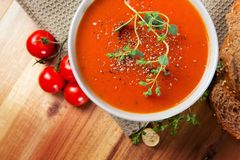 Delicious Tomato Soup with Bread Stock Image