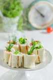 Delicious tortilla with salmon, cheese and vegetables for a brunch Royalty Free Stock Photography