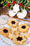 Delicious traditional Christmas cookies decorated with royal ici Royalty Free Stock Image