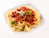 Delicious traditional Italian spaghetti Bolognese Royalty Free Stock Image