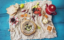 Delicious traditional turkish breakfast on blue wooden table Royalty Free Stock Photo