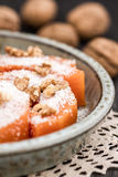 Delicious Traditional Turkish Pumpkin Dessert in a Green Plate Stock Images