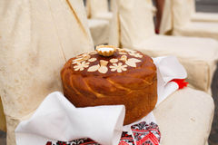 Delicious traditional wedding cake, which baked for the bride an Stock Images