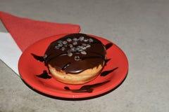 Doughnut triple chocolate royalty free stock photography