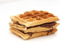 Triple Waffle Nutella Sandwich. Delicious Triple Waffle Nutella Sandwich stock images